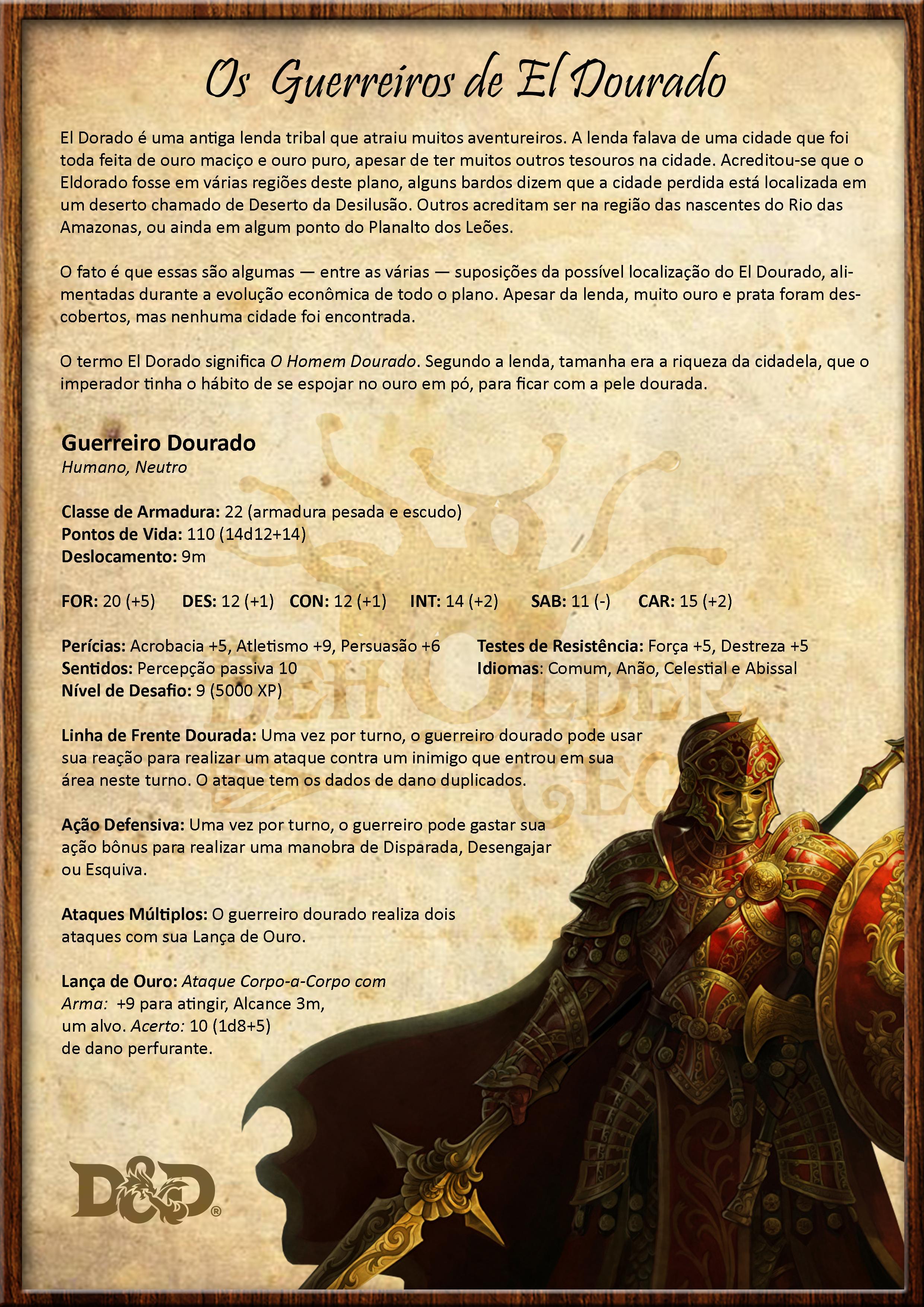 Descrição dos Guerreiros de El Dourado