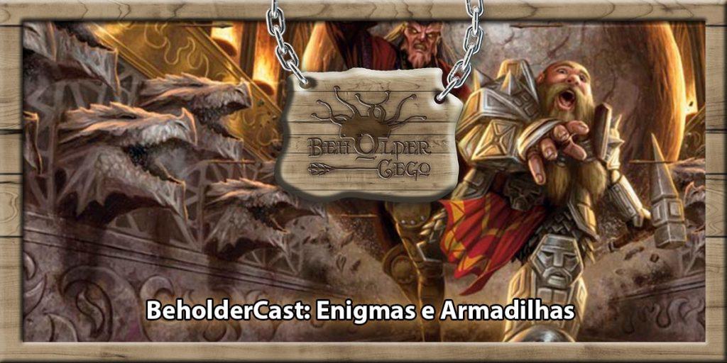 imagem mostra um corredor com cabeças de dragão com as bocas abertas e destes a mostra. Um anão com armadura completa correndo com um martelo em punho.