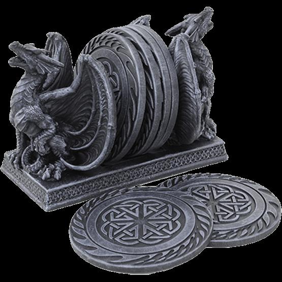 The Dragon Coasters retrata dois dragões ferozes sentados de costas para trás, apoiando as montanhas-russas entre eles. Ambos os dragões se sentam com suas asas espalhadas e suas bocas abertas, exibindo os picos e chifres em suas cabeças junto com suas garras perversas. Cada um dos seis coasters neste conjunto exibe um intrincado design knotwork dentro de um anel externo.